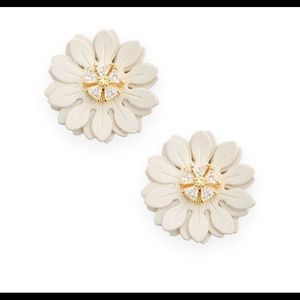 Boutique Vegan Leather Daisy Crystal Earrings New